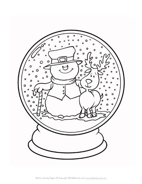winter snowglode coloring page all kids network