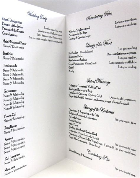Catholic Wedding Program Template Peerpex Wedding Mass Program Template