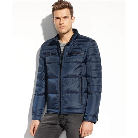 Jaket Hondie Guees lyst guess coats quilted moto jacket in blue for