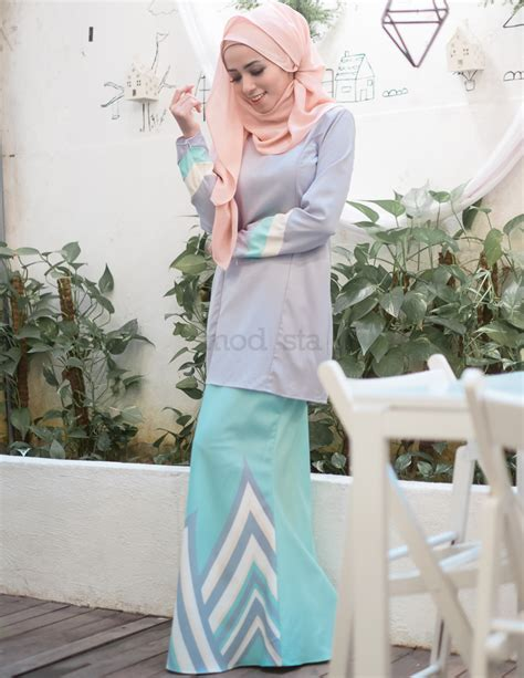 Baju Kurung Moden Warna Pastel baju kurung moden pastel warna grey renee
