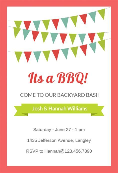 Red Pennants   BBQ Party Invitation Template (Free