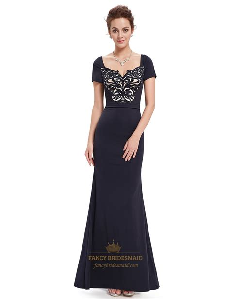 black homecoming dresses with sleeves black beaded mermaid short sleeves prom dress with sequin