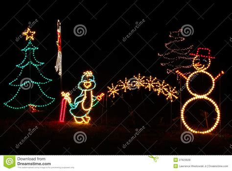 christmas lights penguin snowman tree stock photo