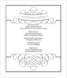 Free Wedding Menu Templates For Microsoft Word by Wedding Menu Template 24 In Pdf Psd Word