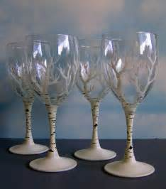 Painted Wine Glasses Birch Trees In Winter Wine Glasses Set Of 4 By Indigoharp