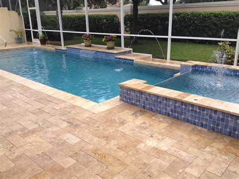 pool deck pavers falling in love with travertine pavers pool deck homesfeed