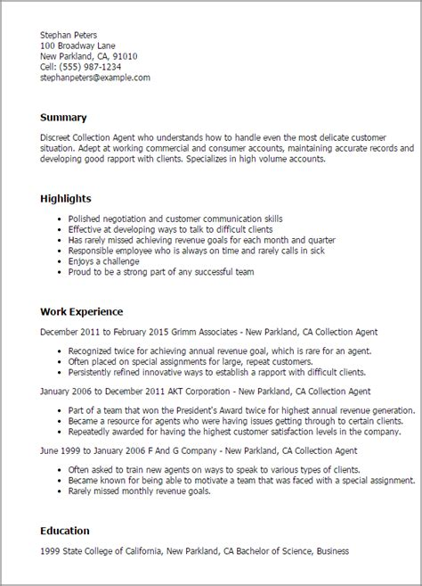 Collection Resume Templates Professional Collection Agent Templates To Showcase Your Talent Myperfectresume