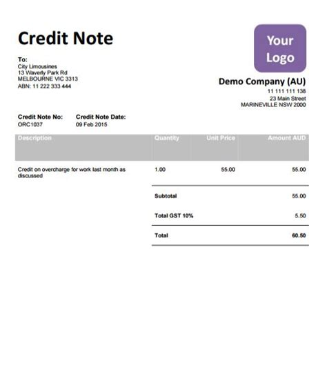 Format Of Credit Note For Discount P009 X Xero Template Pack 9 Templates