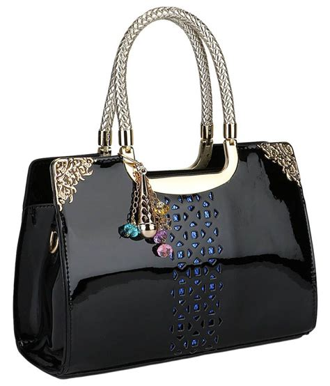 Bling It On by Bling It On Black Leather Tote Bag Buy Bling It On Black