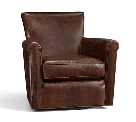pottery barn swivel club chair irving leather swivel armchair 1 950 87 pottery barn