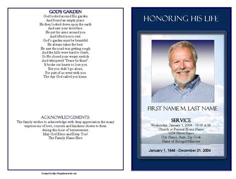 funeral template funeral program templates mountain memory graduated fold