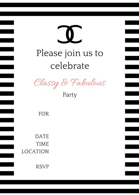 Coco Chanel Party Ideas Birthday Party Ideas Themes Chanel Invitation Template