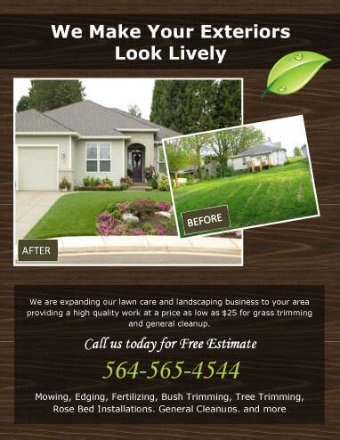 15 Lawn Care Flyers Free Exles Advertising Ideas Landscaping Flyer Templates