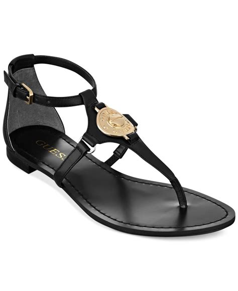 guess flat sandals guess womens rafiya tstrap flat sandals in black lyst