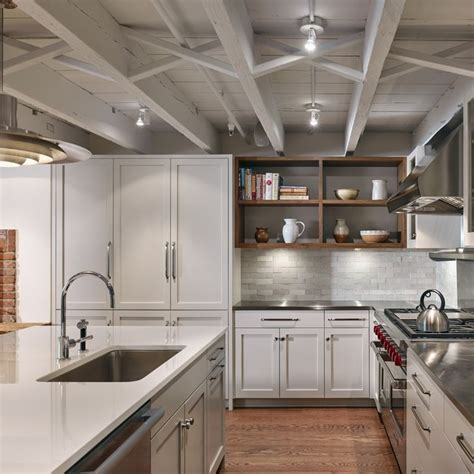 Exposed Ceiling Lighting Brownstone Garden Level Kitchen With Exposed Ceiling Joists Brownstone Kitchens