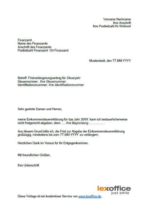 Muster Schreiben Finanzamt Fristverl 228 Ngerung Bei Steuererkl 228 Rung Musterbrief Als Vorlage