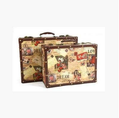 Koper Vintage Wood Retro Style Luggage Suitcase Bag Large Olb2252 new fashion vintage suitcase style wooden box travel bag decoration props decoration