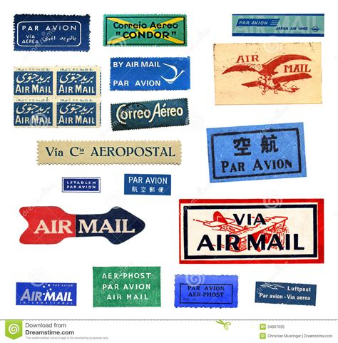 printable airmail stickers vintage airmail labels stock image image of aereo