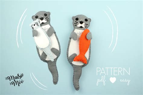 felt otter pattern felt otter pattern felt otter sewing pattern otter svg