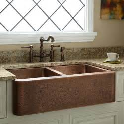 copper farmhouse 50 50 bowl handmade 33 quot bar sink