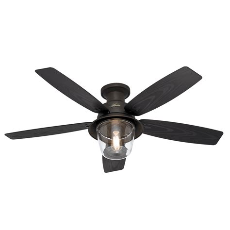 Shop Hunter Allegheny 52 In New Bronze Flush Mount Indoor Outdoor Ceiling Fans With Lights