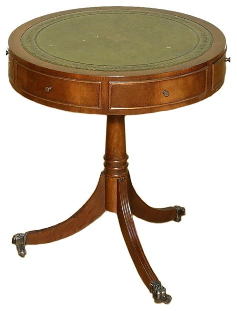 traditional accent tables consigned vintage yew wood leather top round occasional