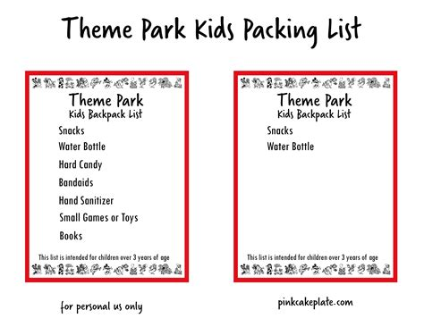 theme checklist theme park backpack packing list and ranch snack mix