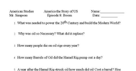 America The Story Of Us Episode 8 Boom Worksheet Answers by Pictures America The Story Of Us Worksheets Signaturebymm