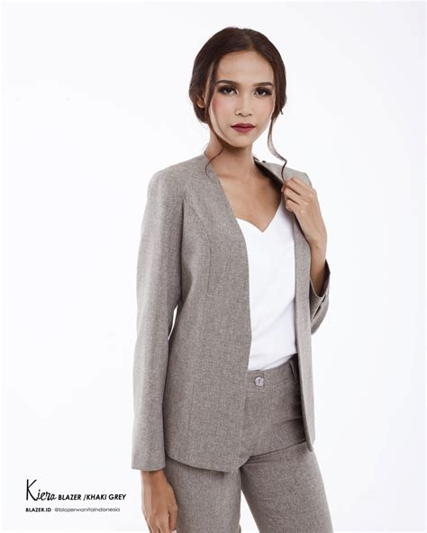 Blazer Kantor Kerja Resmi Formal set kiera khaki grey blazer