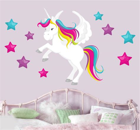 magical unicorn stars mural wall stickers childrens