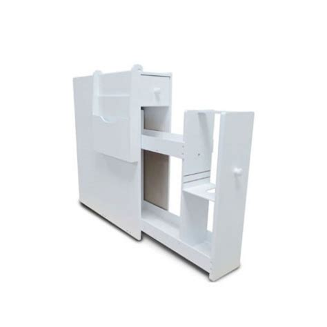 white slim bathroom cabinet