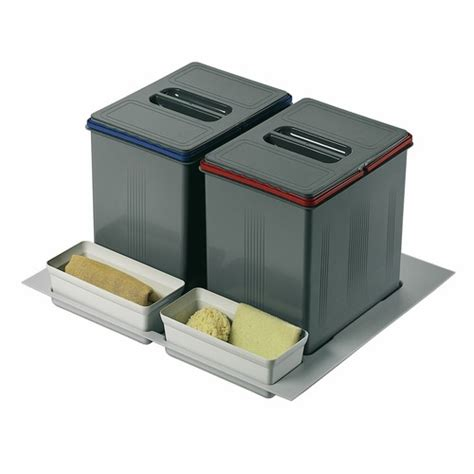 poubelle de cuisine tri s駘ectif 2 bacs poubelles de tri s 233 lectif sous 233 vier 2 bacs de 15 litres