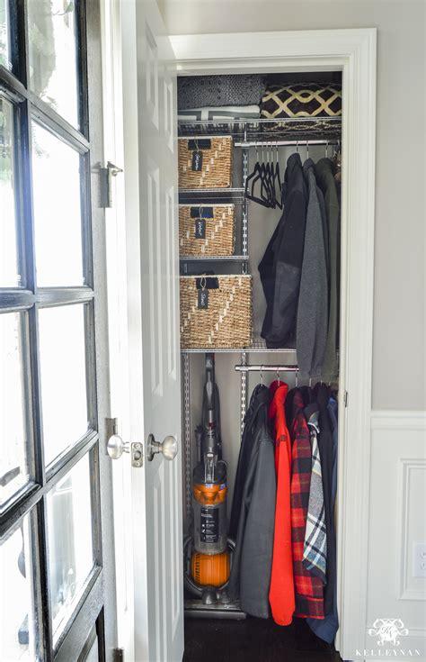 organized foyer coat closet    makeover