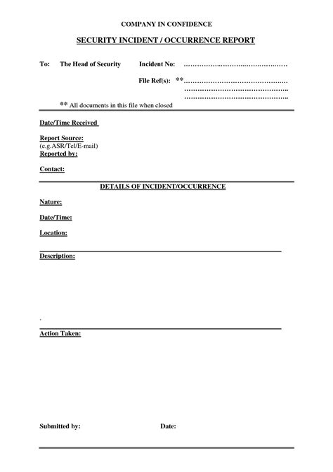 best photos of security incident report form template