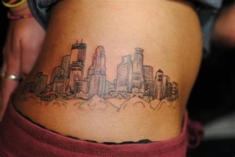 minneapolis skyline tattoo weird placement but i love