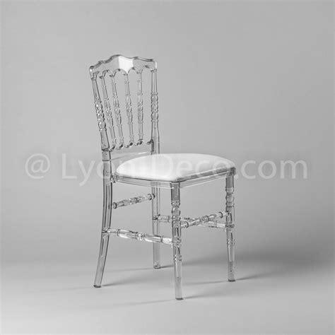 Location Chaise Napoleon 3 Cristal avec assise simili cuir blanche