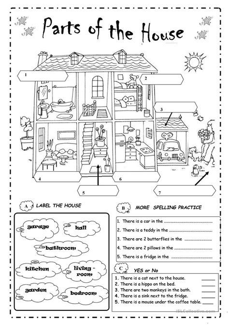 printable house pdf parts of the house worksheet free esl printable