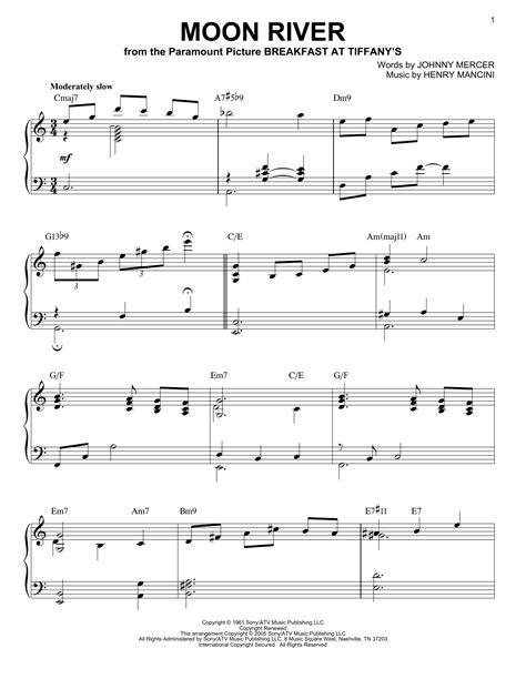 moon river sheet music direct