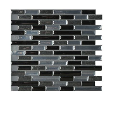 kitchen backsplash peel and stick tiles smart tiles muretto nero 10 20 in x 9 10 in peel and stick decorative wall tile backsplash in