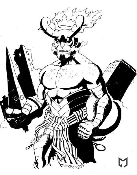 hellboy the beast bw by mista m on deviantart