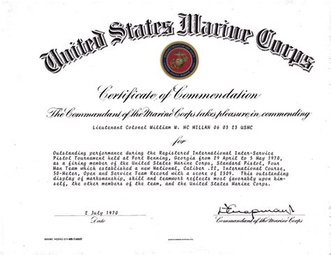 certificate of commendation usmc template certificate of commendation pictures to pin on