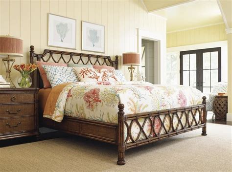 tropical island bedroom furniture tommy bahama home bali hai king island breeze rattan bed