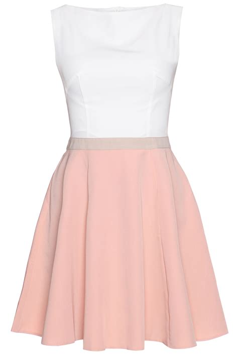 pink seam bodice flippy dress with contrast belt