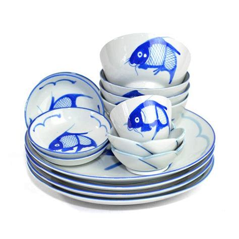 koi fish dinnerware collection 15 pieces cobalt blue glaze on por