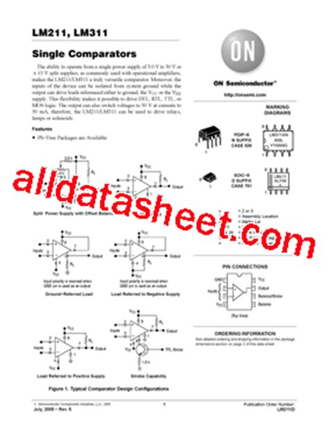lm311ng 데이터시트 pdf on semiconductor