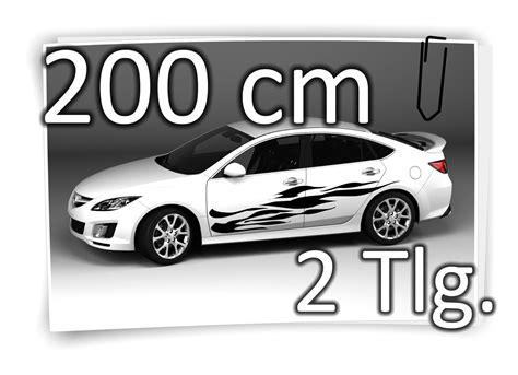 Tuning Aufkleber Set by 200cm Seitenaufkleber Flame Carstyling Tuning Autotattoo