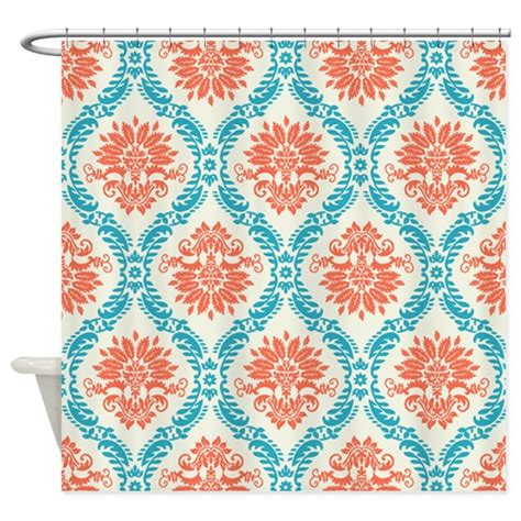 Coral Damask Curtains Tangerine And Aqua Damask Shower Curtain By Doonidesigns