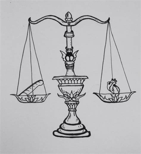 balance tattoo design scale of justice weighing the against the feather