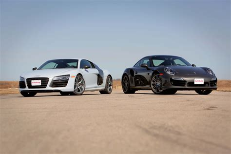 porsche audi 2014 audi r8 v10 plus vs 2014 porsche 911 turbo youtube