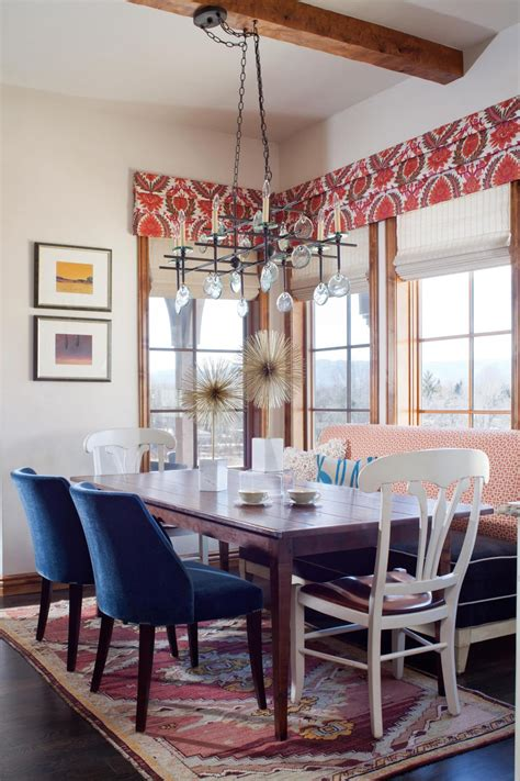 sunny eclectic dining room boasts funky patterns hgtv
